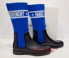 Givenchy Storm Sock Knit Ankle Mid Calf Rain Logo Bootie Boots Blue Storm boots