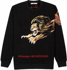 Givenchy Leo Slim Fit Lion Print Sweatshirt Top Signature Black
