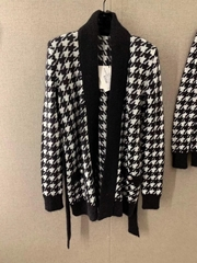 Balmain Black & White Mohair Houndstooth Belted Cardigan Long sleeve knit mohair-blend cardigan