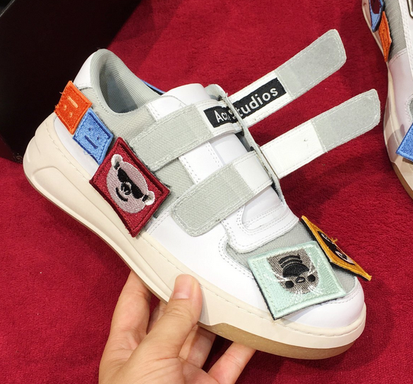 Acne Studios Steffey Patch white/white are sneakers with velcro strap closures 10