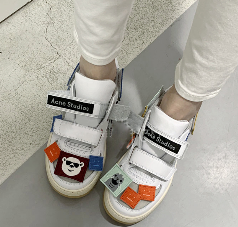 Acne Studios Steffey Patch white/white are sneakers with velcro strap closures 11
