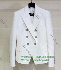 Balmain White Wool Double-Breasted virgin wool blazer women jacket luxury brand