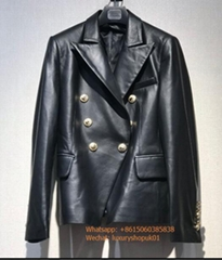 Balmain designer Blazers Black Leather Double-Breasted grained lambskin jacket