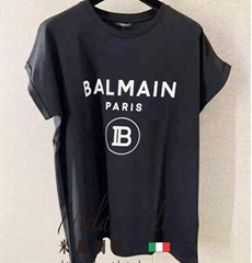 Balmain Black Flocked Logo T-Shirt Short sleeve cotton jersey t-shirt men women