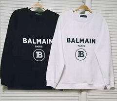 Balmain Black Flocked Logo Long sleeve French terry sweatshirt pullover hoodie