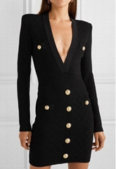 BALMAIN Button-embellished stretch jacquard-knit mini dress women luxury clothes