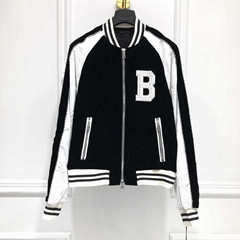 Balmain Two-Tone Logo-Embroidered Satin wool blend contrast sleeve bomber jacket