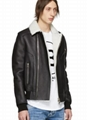 Balmain Black Shearling Bomber Jacket Long sleeve grained lambskin bomber jacket