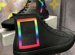 Louis Vuitton Tattoo sneaker boot emblematic Taiga leather  bold rainbow-colored rectangle X printed