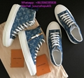 Louis Vuitton Navy-blue Monogram Denim calf leather Tattoo sneaker boot shoes