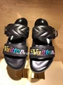Louis Vuitton Bom Dia flat mule black calf leather wave-pattern quilting rainbow