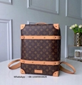 IMG 2    LV  Soft Trunk Backpack Pm classic elegant bag fabric lining Leather shoulder b