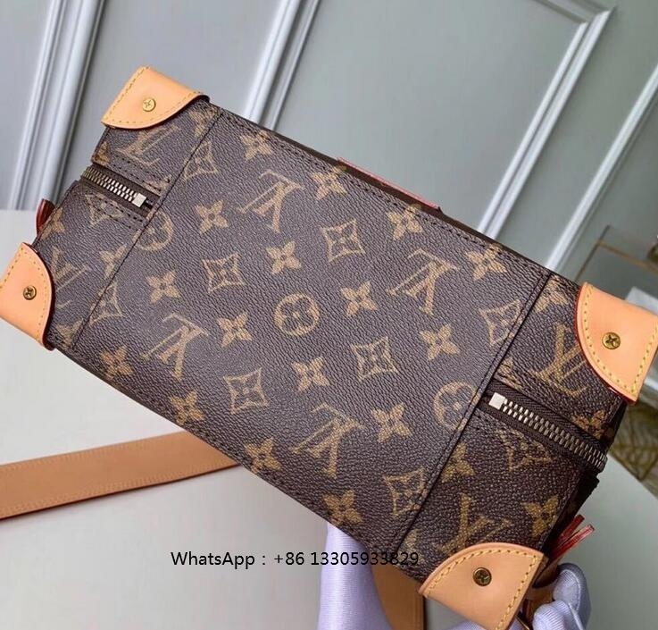LV  Soft Trunk Backpack Pm classic elegant bag fabric lining Leather shoulder b