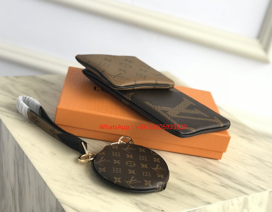 Louis Vuitton Trio Pouch M68756 Reverse Monogram Coated Canvas Wristlet