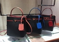 Prada North South Double Bag Gray Bags Panier Medium Bag Red LuxuryTastic