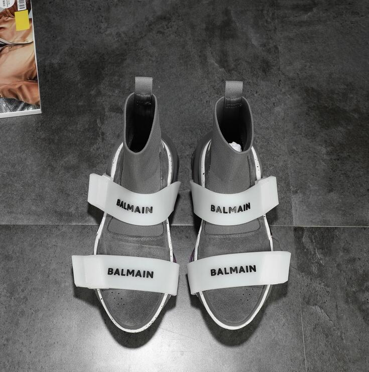 balmain Black suede knit B-Bold sneakers with straps WhatsApp:+86 13305933829