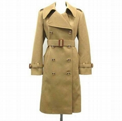 Double Breasted Trench Coat Wool Brown
