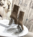 Balmain autumn and winter latest B heel boots B letter buckle zipper Leather boo