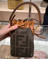 FENDI Mon Trésor mini raffia-trimmed jacquard bucket bag luxury brand handbag