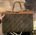 FENDI Sunshine Shopper leather-trimmed canvas tote ladies handbag cheap on sale