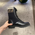 FENDI Logo-jacquard stretch-knit and leather ankle boots ladies fashion boots