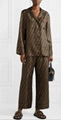 FENDI Embroidered zucca printed silk-satin shirt ladies long sleeve luxury shirt