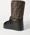 FENDI Printed shell and leather chunky shell upper FF lace-up snow boots ladies