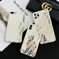 FENDI Canvas-trimmed embossed leather phone case fashion luxury brand