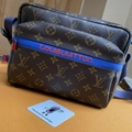 LOUIS VUITTON Taiga Lama Shoulder Bag Blue M30242 Outdoor Messenger men bags