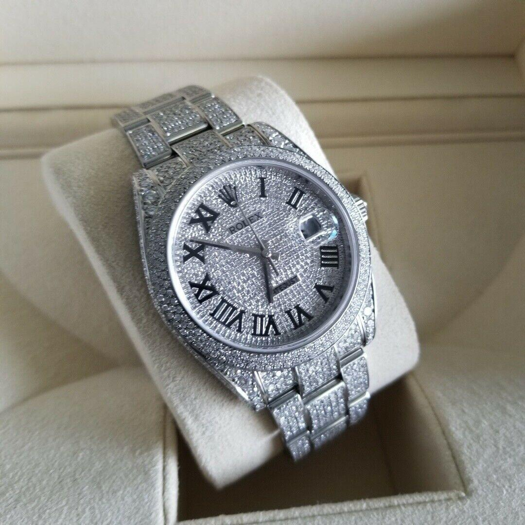 Rolex Datejust Diamond Steel 41mm Men's Watch 126300 ICED OUT PAVED DIAL ROMAN