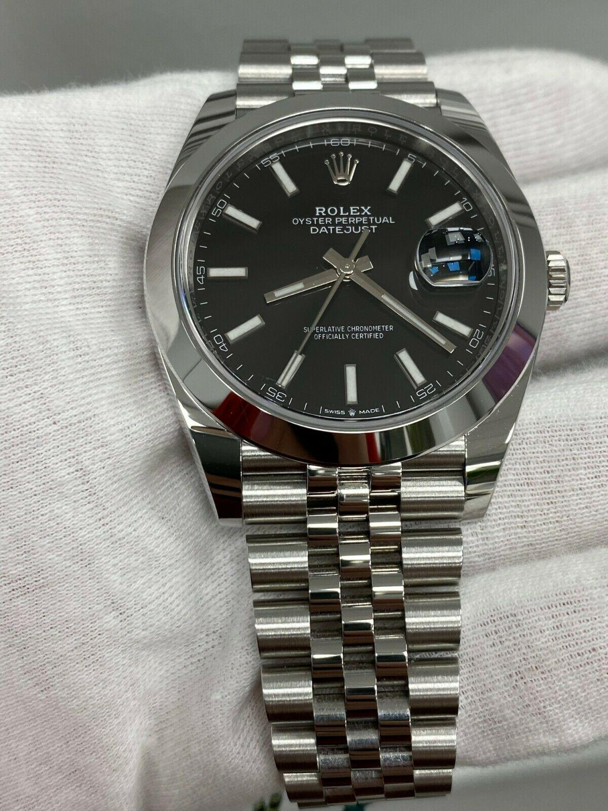 BRAND NEW Rolex Datejust 41 Black 126300 Stainless Steel Watch Box Papers 2020