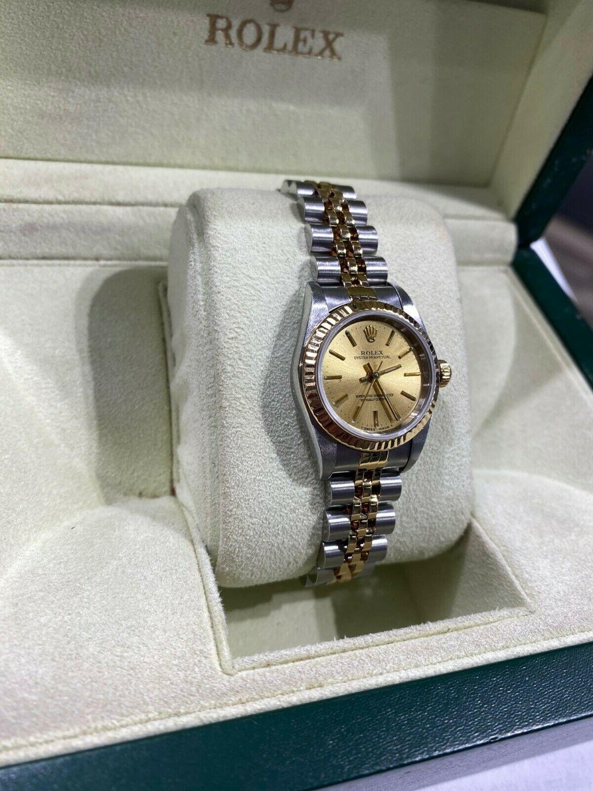 Rolex Ladies Oyster Perpetual 79173 18K Yellow Gold Stainless Steel Watch
