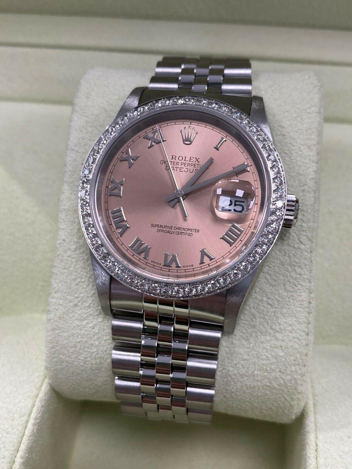 Rolex Datejust 16220 Pink Dial Diamond Bezel Stainless Steel Box Papers