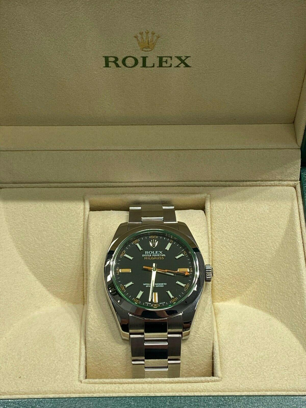 Rolex Milgauss 116400V Green Crystal Stainless Steel Watch with Box