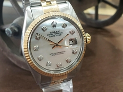 Mens Vintage ROLEX Oyster Perpetual Datejust 36mm White MOP DIAMOND Dial Watch