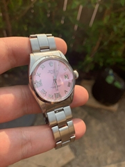 Ladies Rolex Oyster Perpetual Date Watch 1500 Stainless Steel 26mm Ice Pink sale
