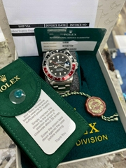 Rolex GMT Master II 16710 Red and Black Coke Stainless Steel Service Paper & Box