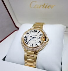 Cartier Ballon Bleu WJBB0002 18K Y Gold 33mm Factory Diamond Bezel brand luxury