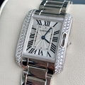 Cartier Tank Anglaise 18k White Gold WT100008 Quartz ladies fashion luxury watch