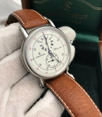 Chronoswiss CH1523 Stainless Steel w/ Leather Mens Watch Complete set men luxury