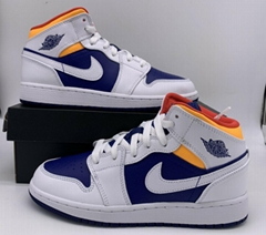 Nike Jordan 1 Retro Mid Royal Blue Laser Orange White 554725/554724-131 Mens/GS