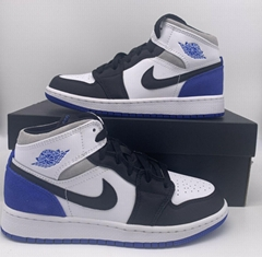 Nike Air Jordan 1 Mid SE White Black Royal GS BQ6931-102 Men's Size women shoes