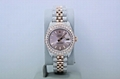 ROLEX DATEJUST 26MM TWO TONE 18K ROSE GOLD & SS DIAMOND ENCRUSTED WATCH 179171