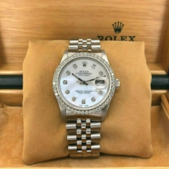 Rolex 36MM Datejust Diamond MOP Dial & Bezel Jubilee Band Stainless Steel Watch