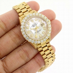 Rolex President Datejust 26mm Gold Watch w/2CT Diamond Bezel/White MOP Dial sale