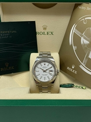 Rolex Datejust II 116334 41mm White Dial 18K White Gold Fluted Bezel Watch sale