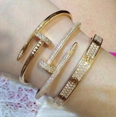 Cartier Crystal Nail Bangle Love Bracelet Fashion Rhinestone Stones Nail Cuff