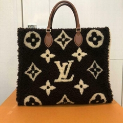 Louis Vuitton Onthego GM Tote Bag Monogram Teddy M55420 Brown Woman LV Shearling OnTheGo Tote