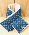 LOUIS VUITTON NIGO Lamb Fur Muffler Scarf Denim Blue Monogram Unisex winter sale