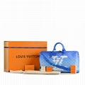 Louis Vuitton Keepall Bandouliere 50 Clouds Blue Monogram Weekend Travel Bag LV